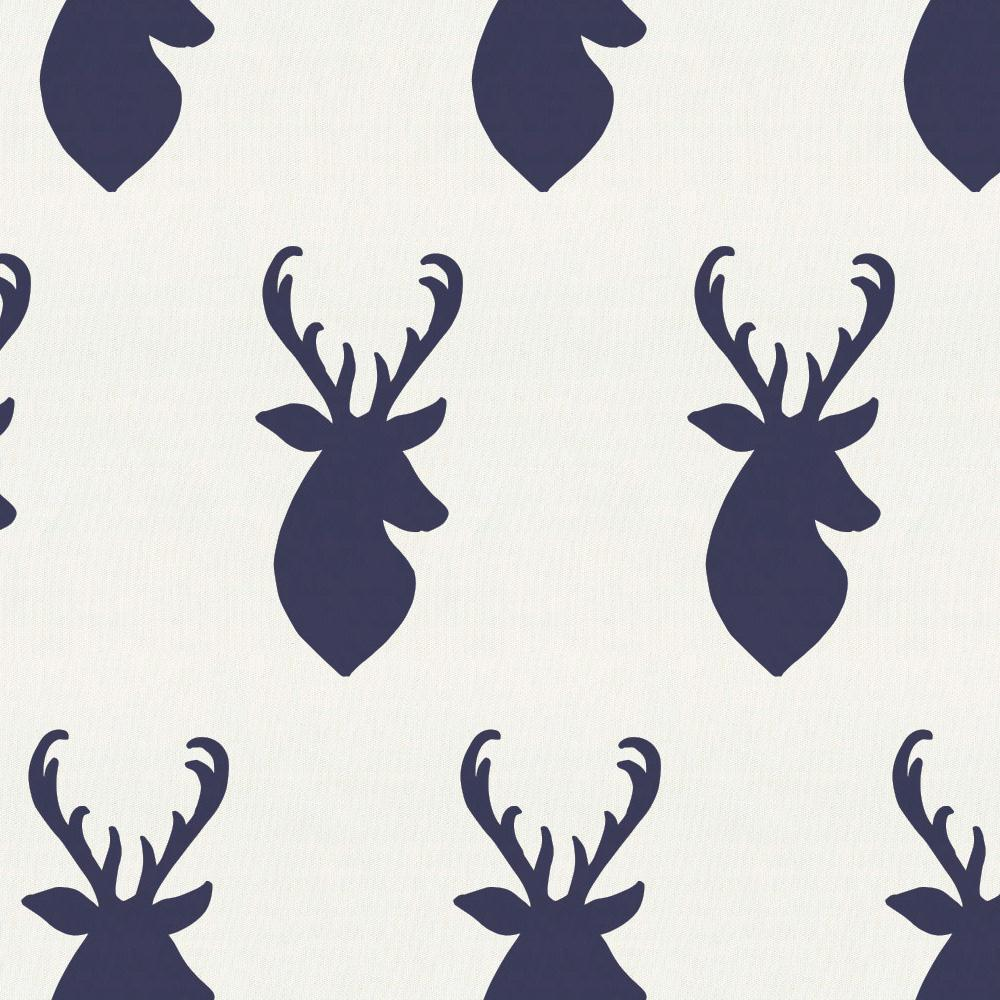 Product image for Windsor Navy Deer Head Toddler Sheet Bottom Fitted