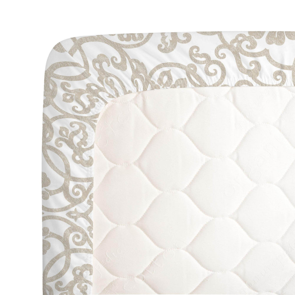 Product image for Taupe Filigree Crib Sheet