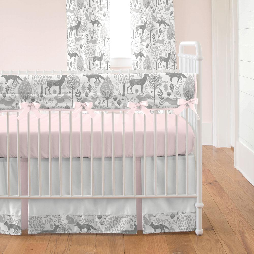 Product image for Pink and Gray Woodland Crib Comforter with Piping