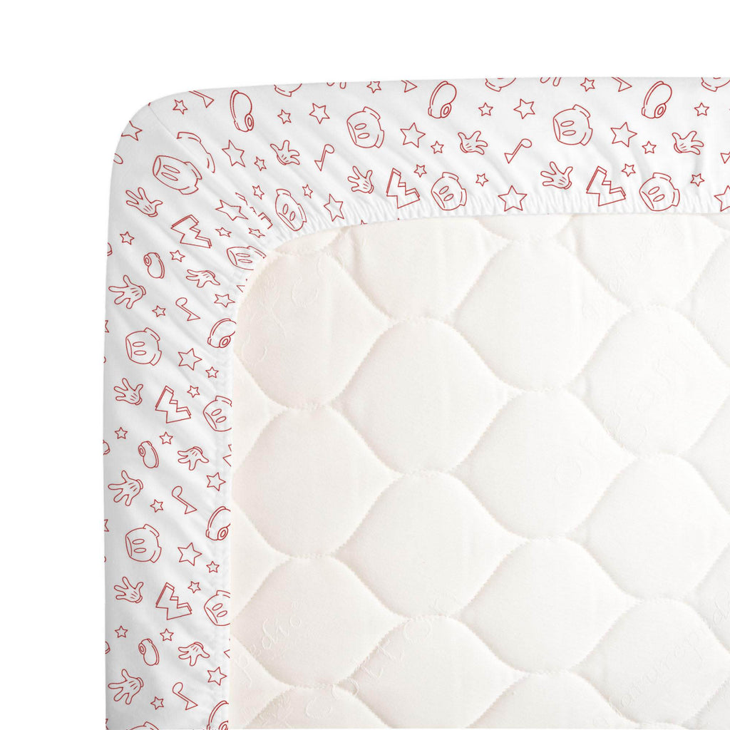 Product image for Disney© Red Mickey Icons Crib Sheet