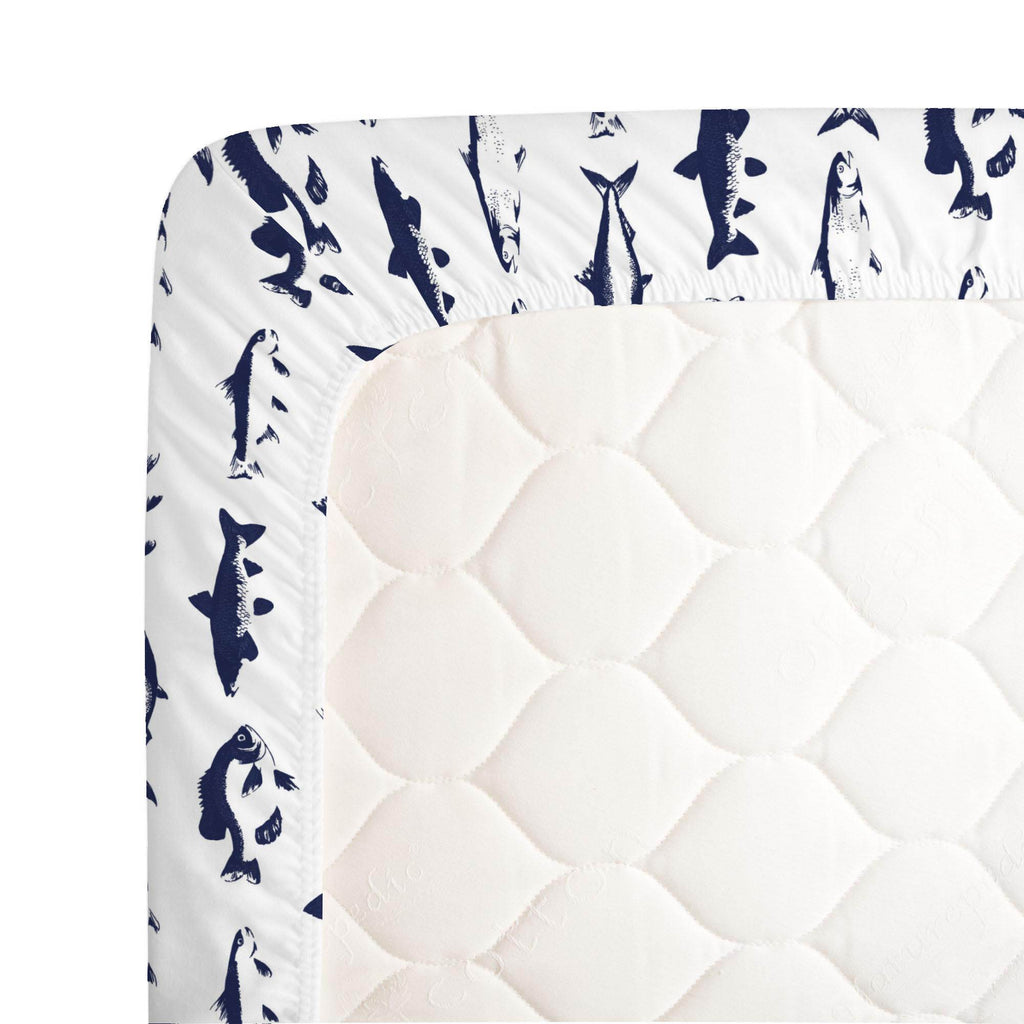 Product image for Windsor Navy Fish Crib Sheet