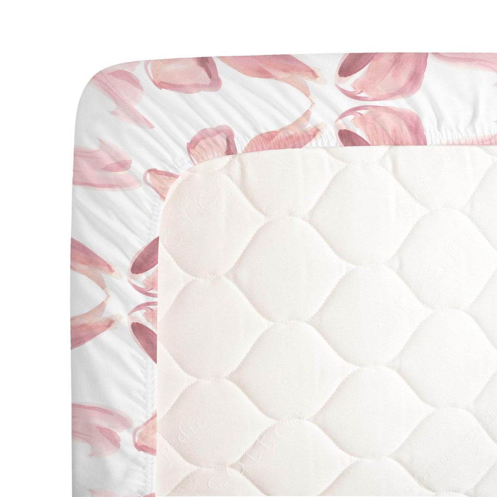 Product image for Pink Watercolor Bows Crib Sheet