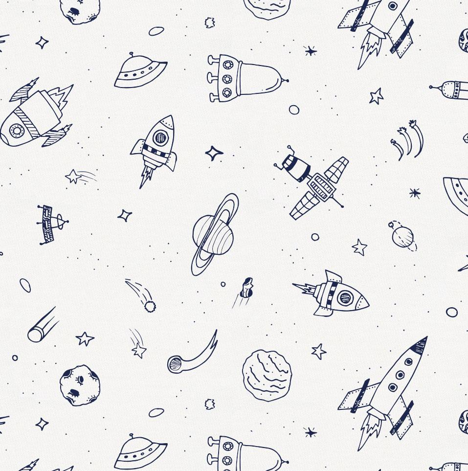 Product image for Windsor Navy and White Rockets Toddler Sheet Bottom Fitted