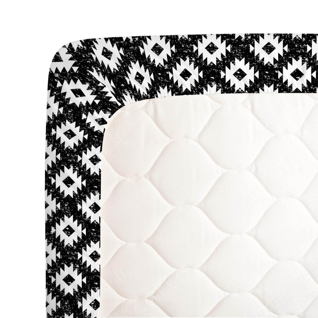 Product image for Onyx and White Aztec Crib Sheet