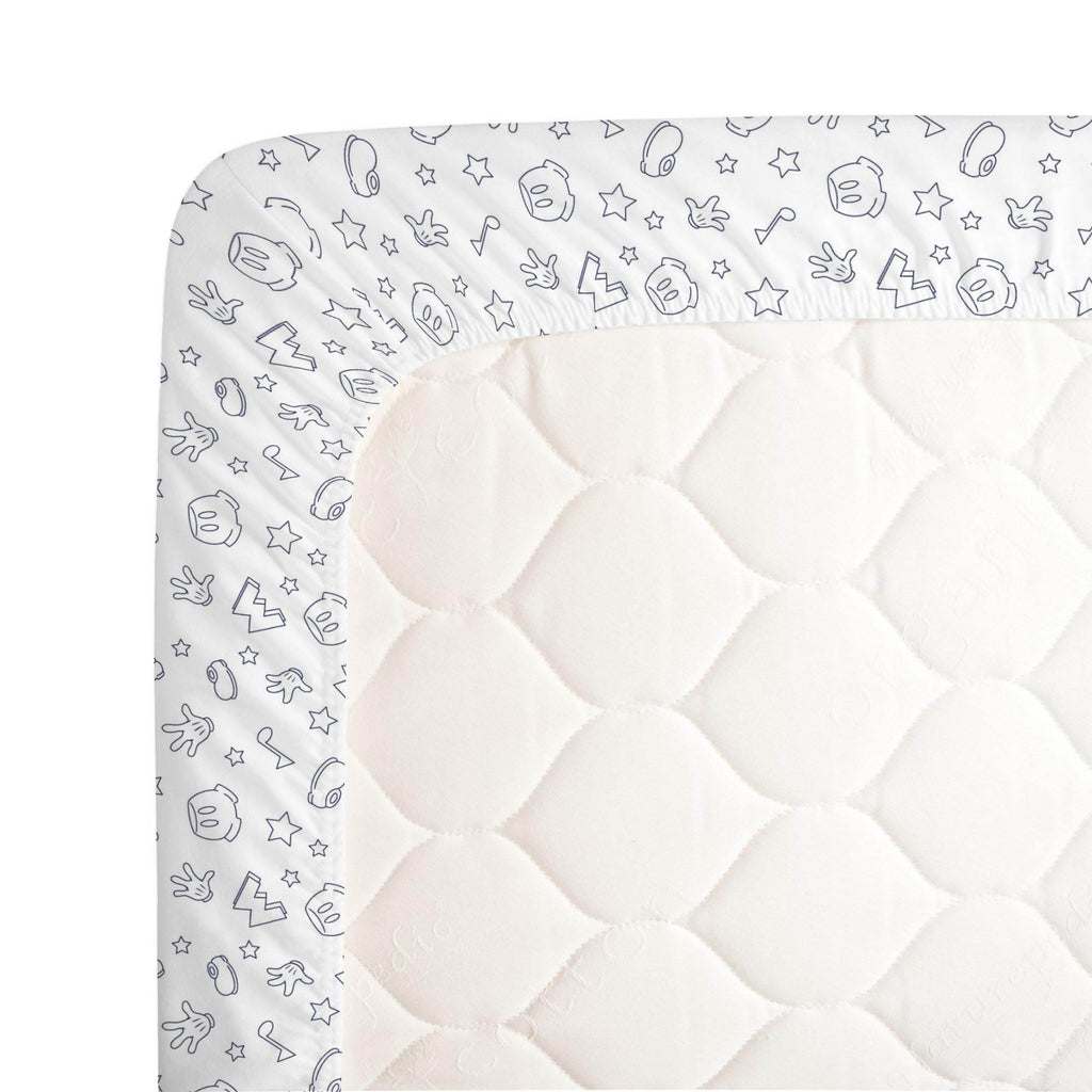 Product image for Disney© Navy Mickey Icons Crib Sheet