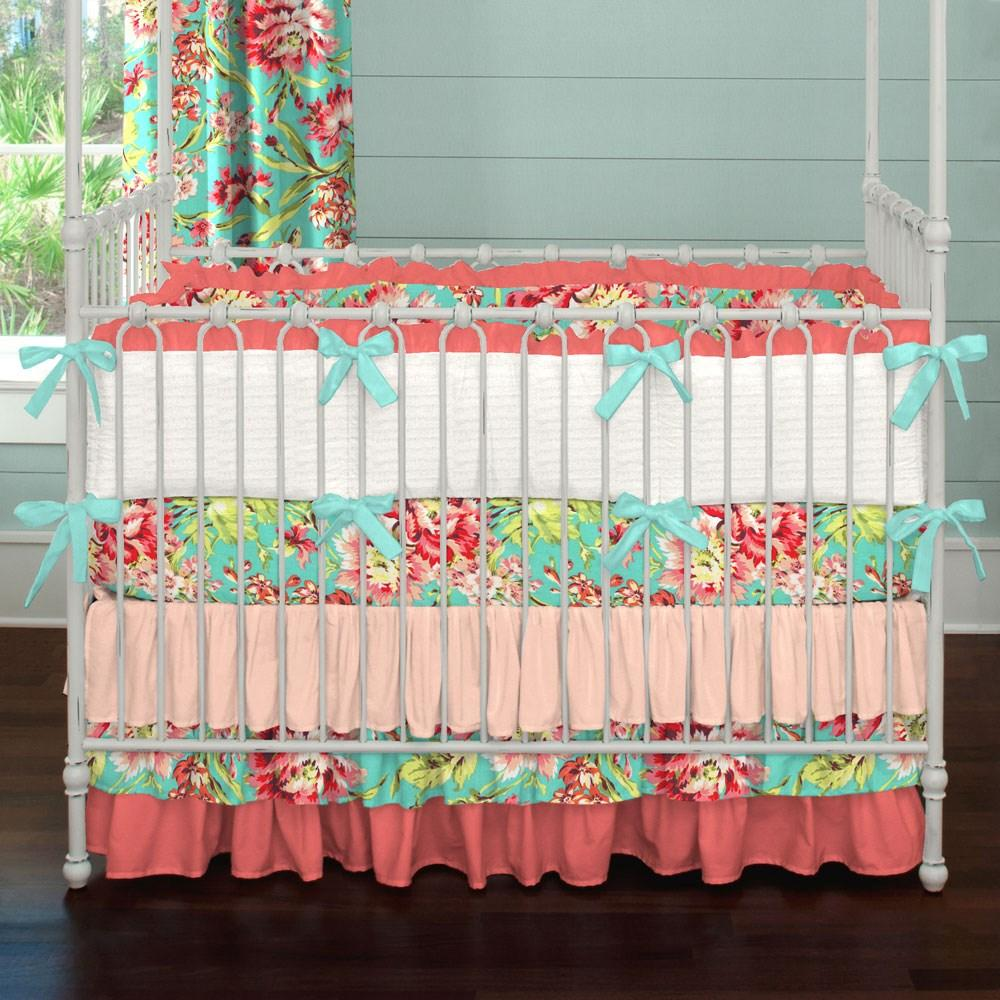 Product image for Coral and Teal Floral Crib Skirt 3-Tiered