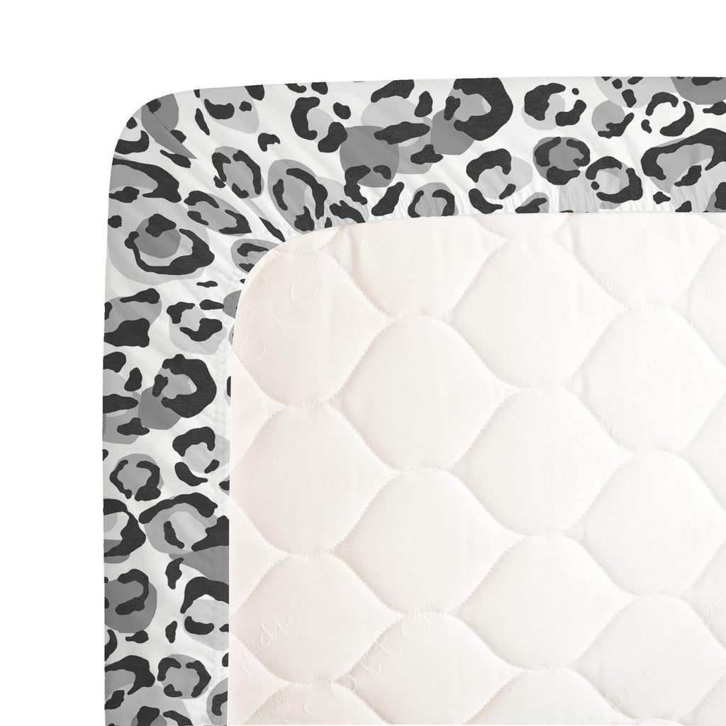 Product image for Gray Leopard Crib Sheet