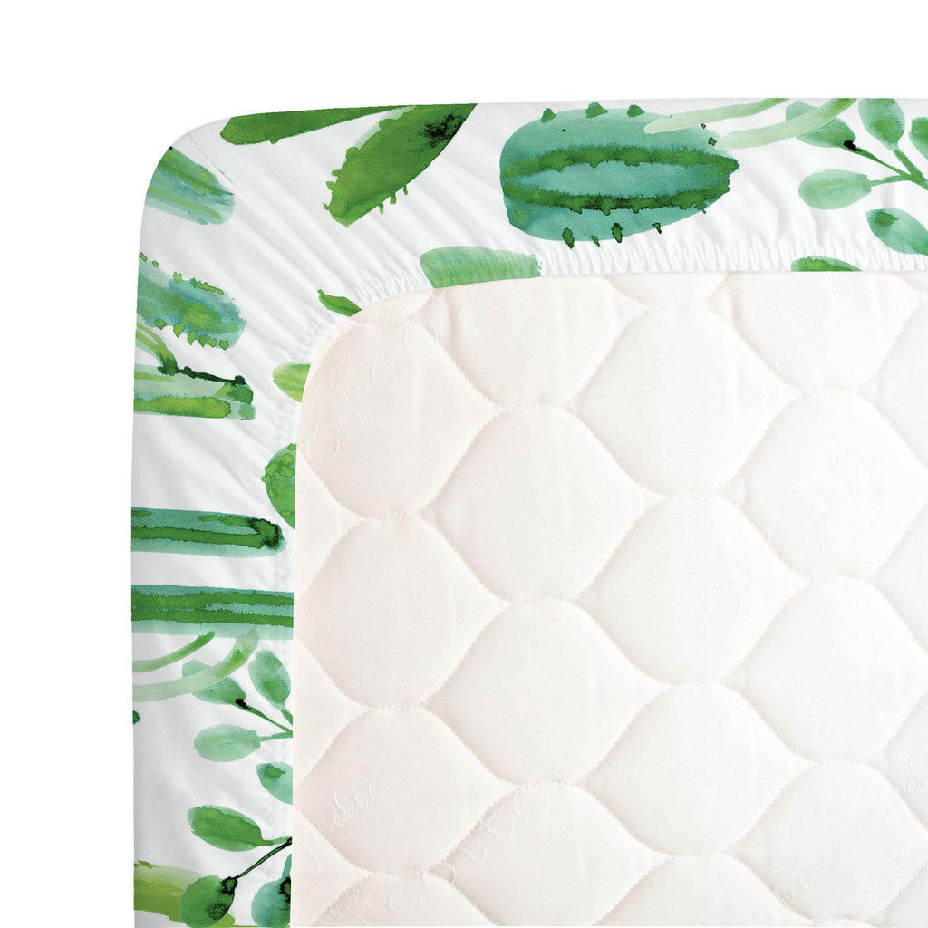 Product image for Green Painted Cactus Crib Sheet