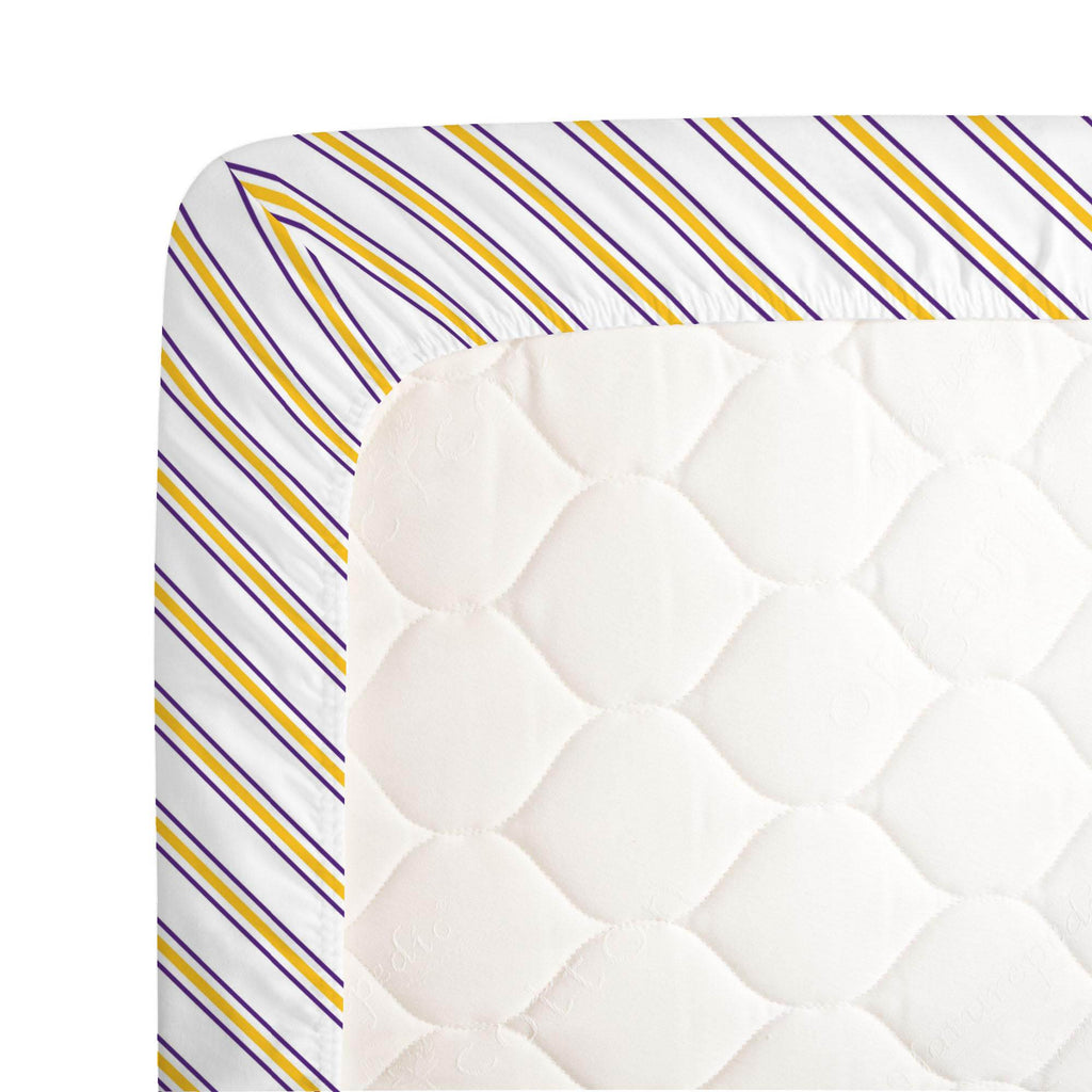 Product image for Purple and Yellow Necktie Stripe Crib Sheet