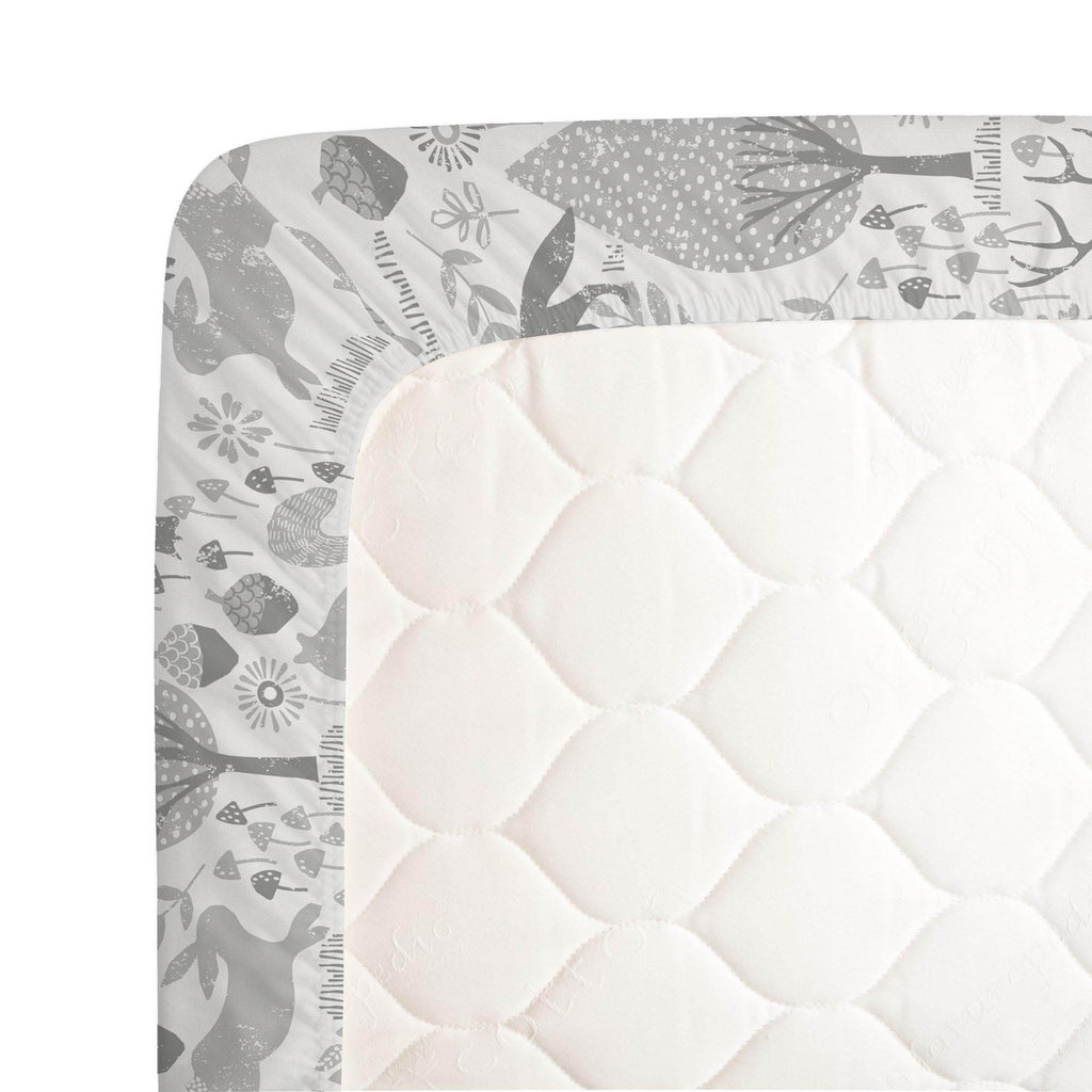 Product image for Gray Woodland Animals Crib Sheet