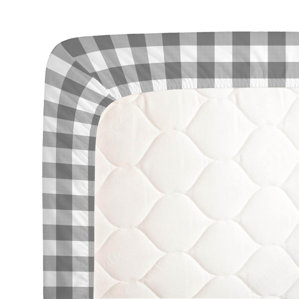 Product image for Gray Gingham Crib Sheet
