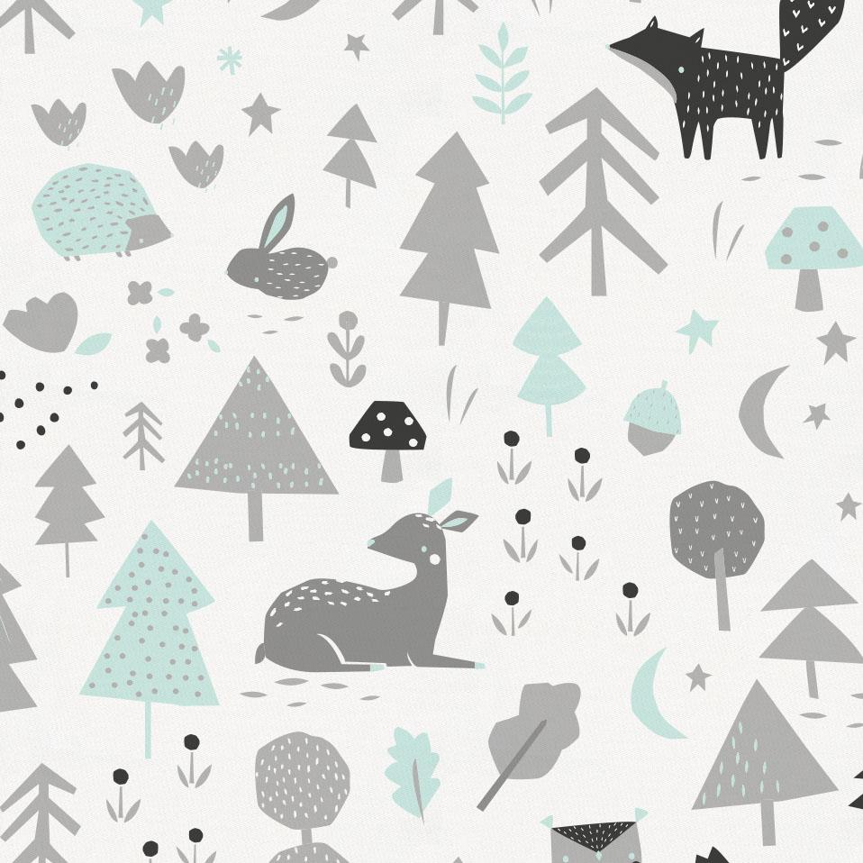 Product image for Icy Mint and Silver Gray Baby Woodland Toddler Sheet Bottom Fitted