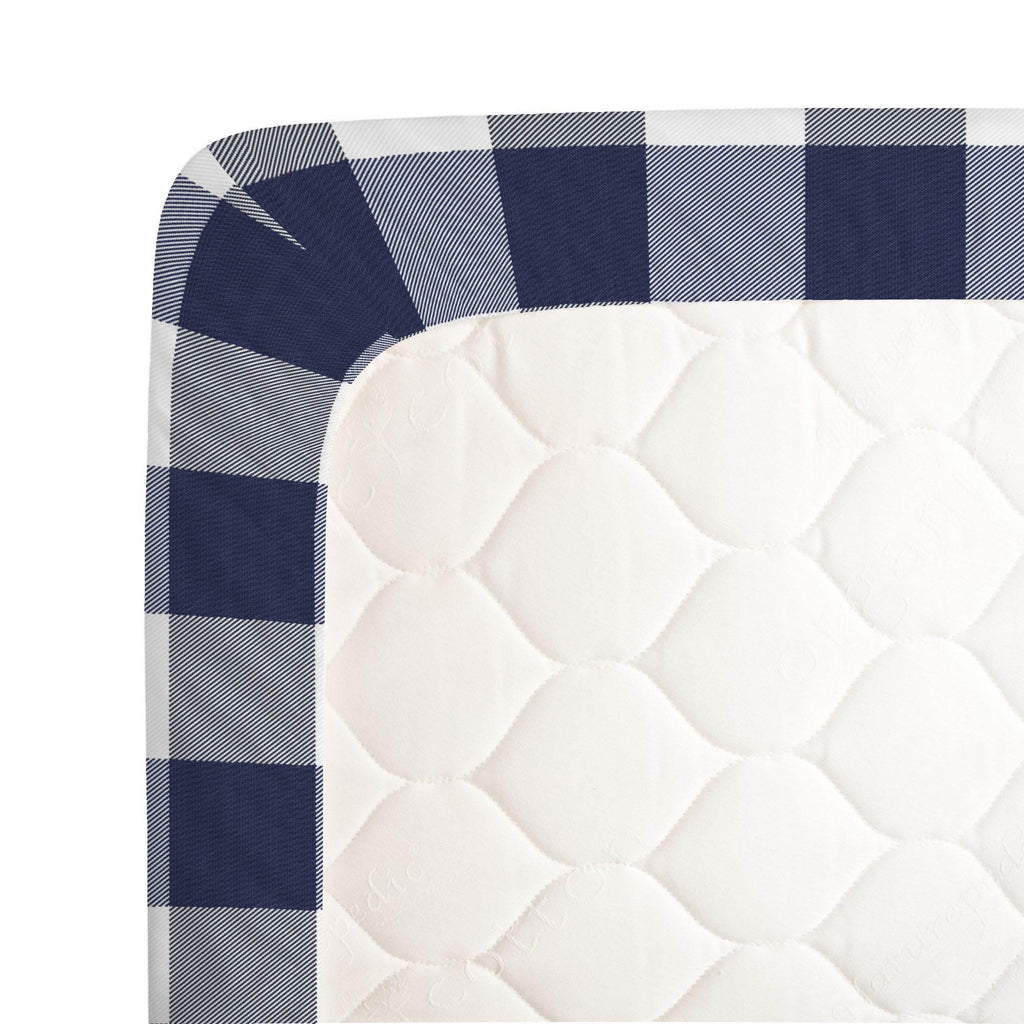 Product image for Navy and White Buffalo Check Crib Sheet