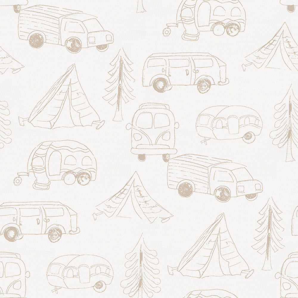 Product image for Taupe Little Campers Toddler Sheet Top Flat