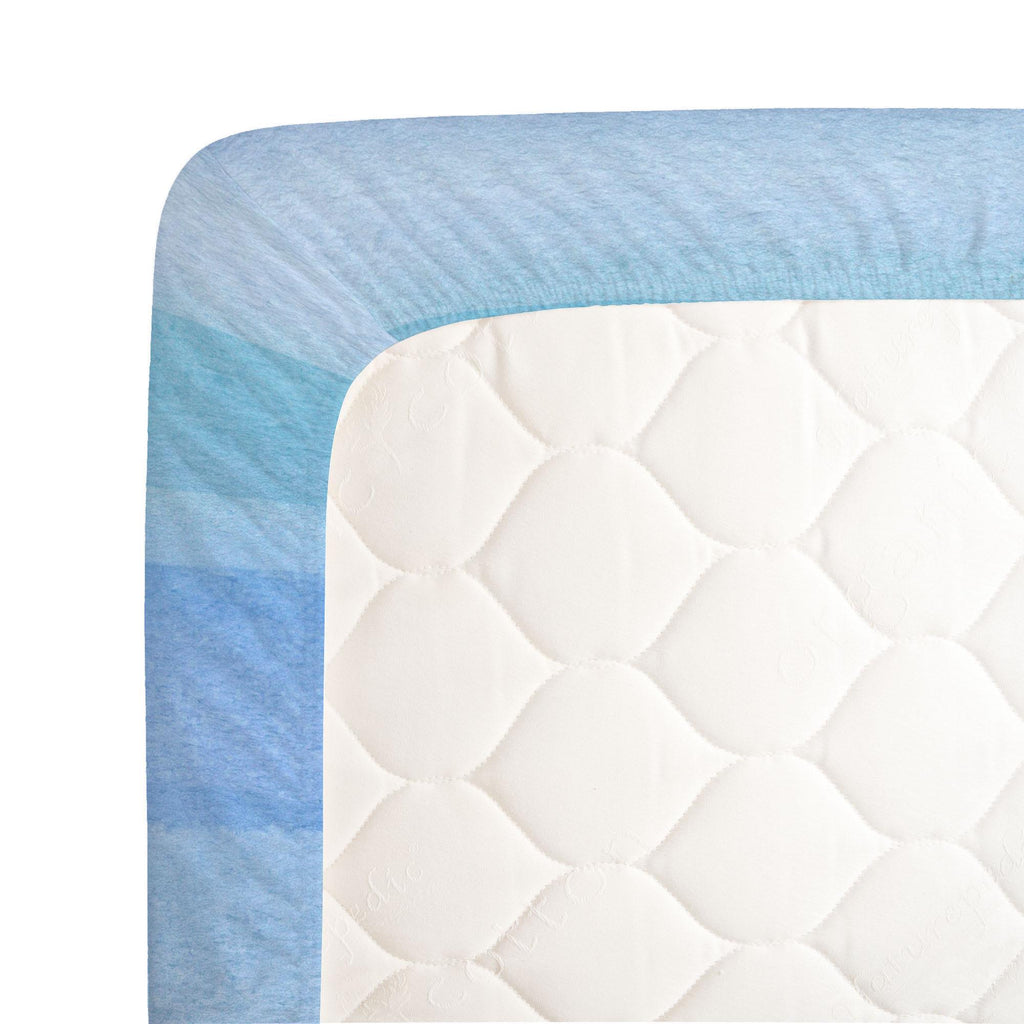 Product image for Blue Stripe Centerpiece Crib Sheet