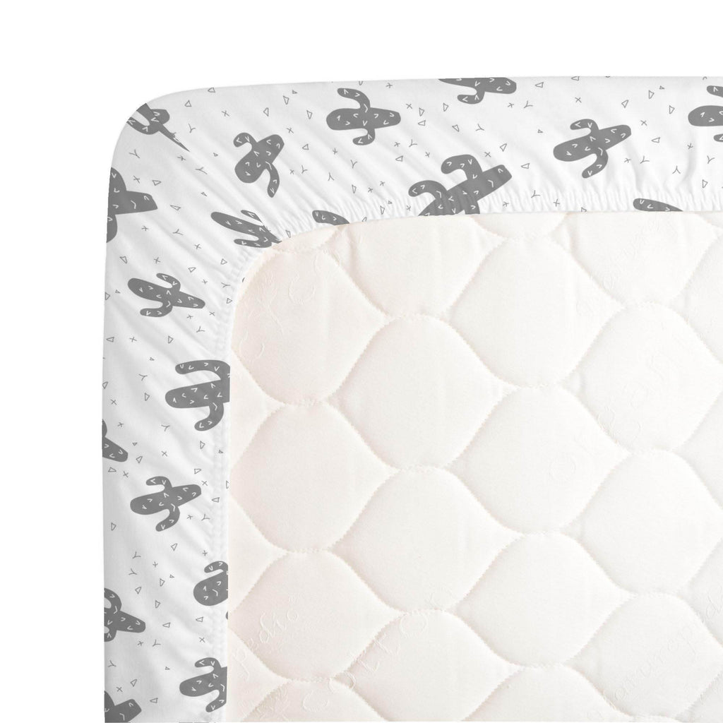 Product image for Cloud Gray Cactus Crib Sheet