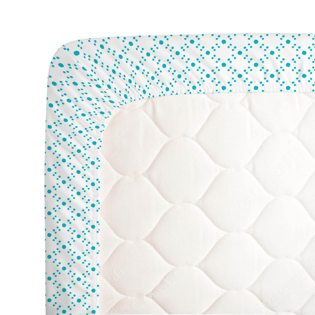 Product image for Teal Lattice Dots Crib Sheet