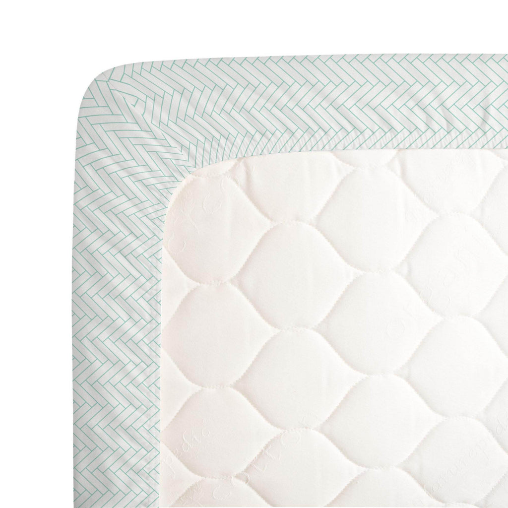 Product image for White and Mint Classic Herringbone Crib Sheet