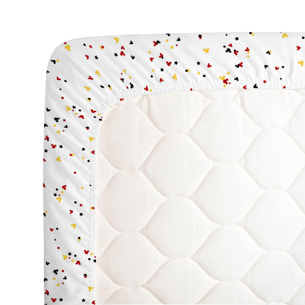 Product image for Disney© Red and Onyx Mickey Confetti Crib Sheet