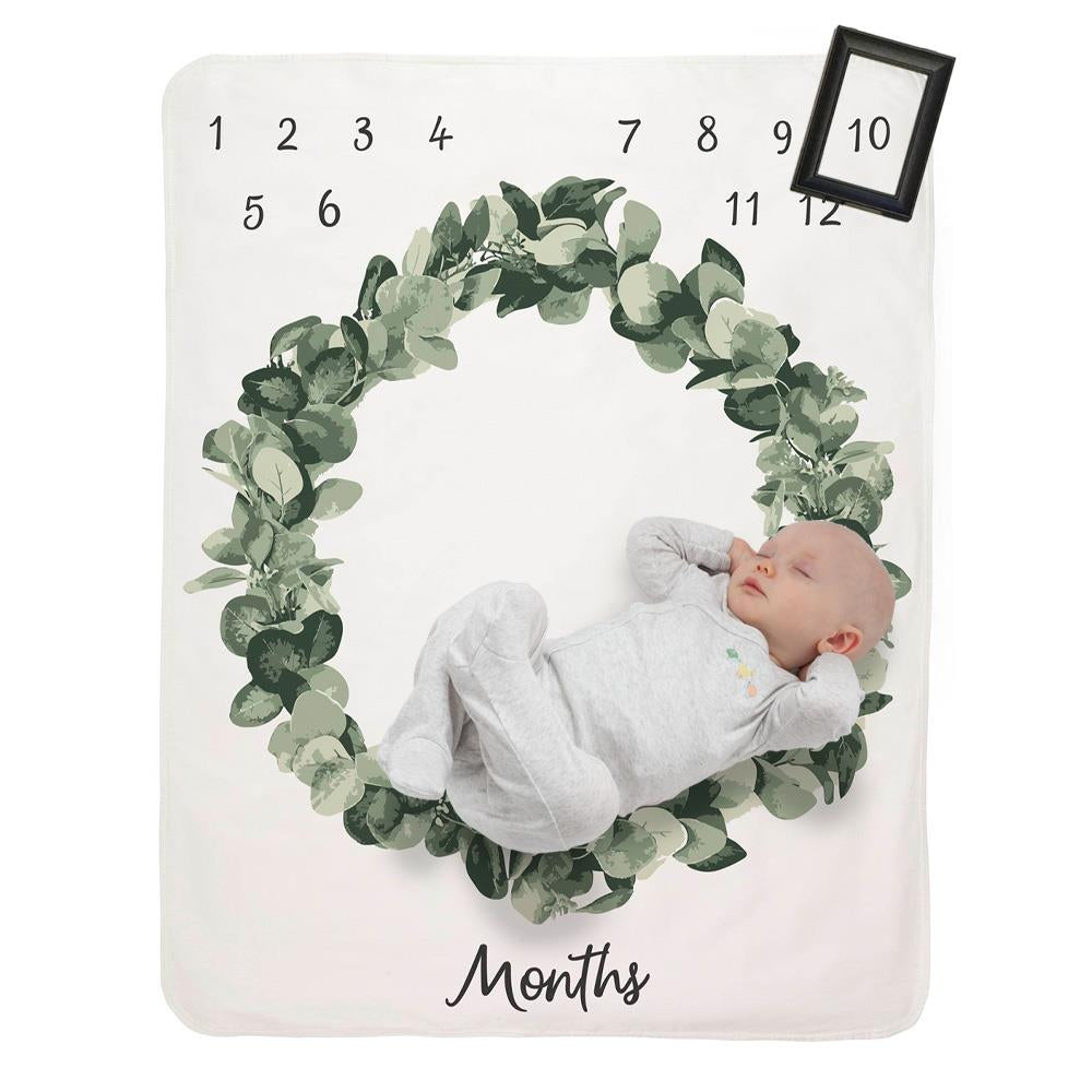 Product image for Green Tropical Milestone Baby Blanket