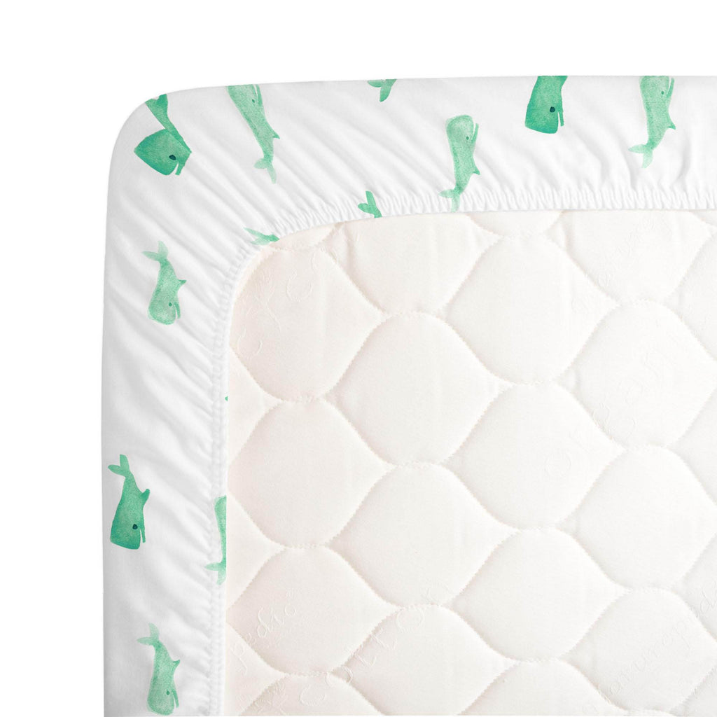 Product image for Mint Whale of a Tale Crib Sheet