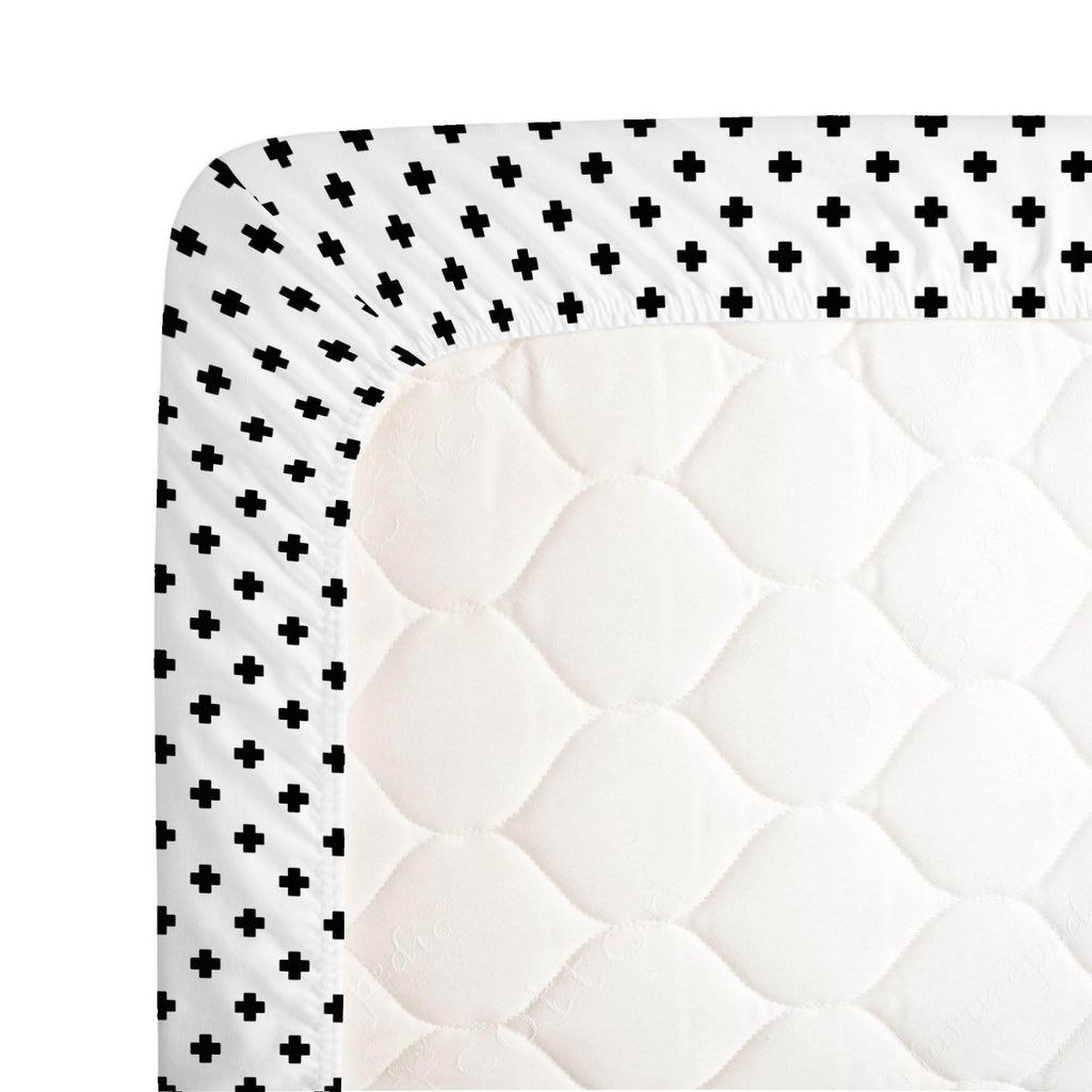 Product image for Onyx Mini Swiss Cross Crib Sheet