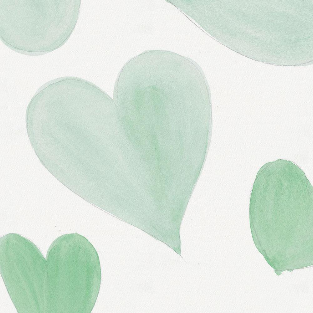 Product image for Mint Watercolor Hearts Toddler Sheet Top Flat