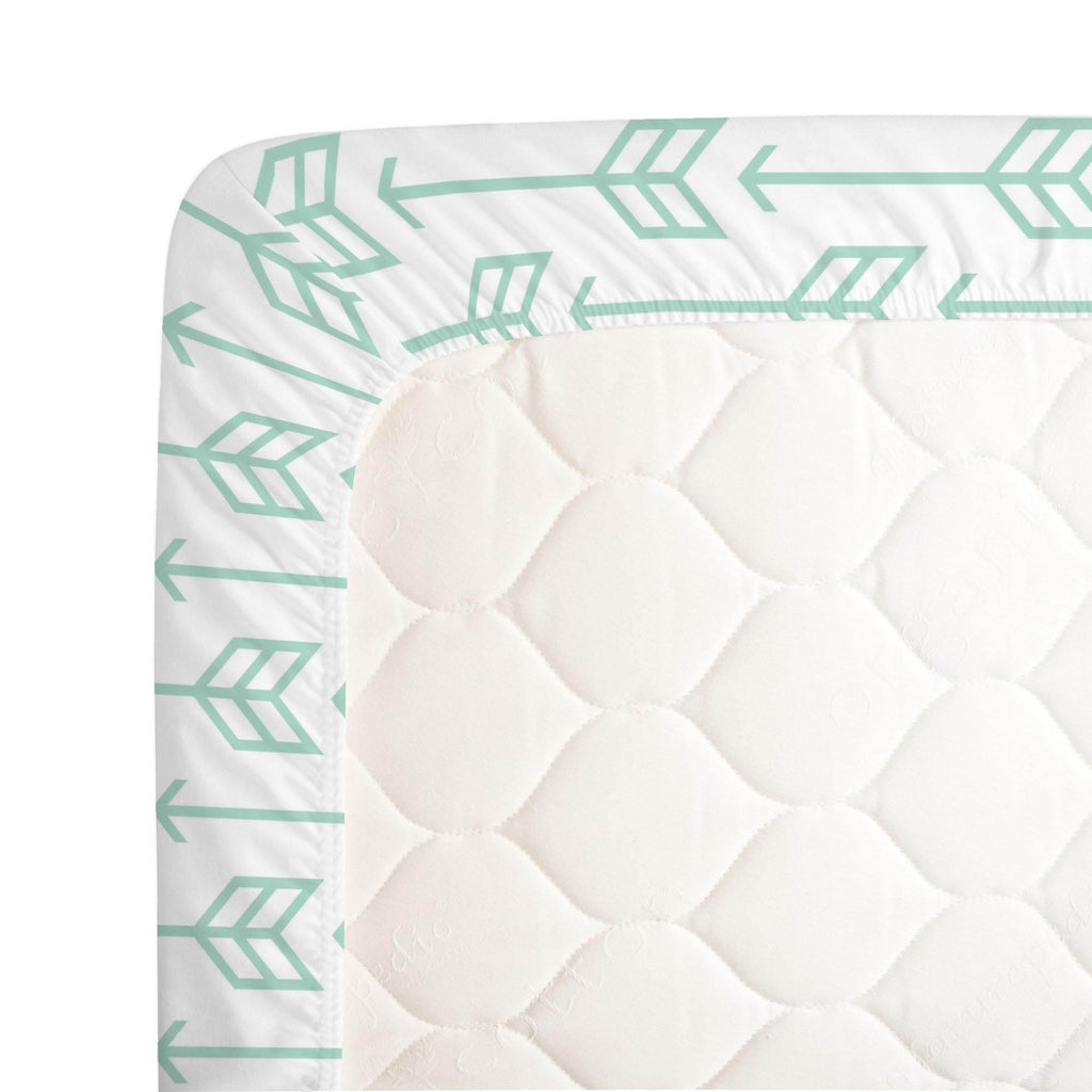 Product image for Mint Arrow Crib Sheet