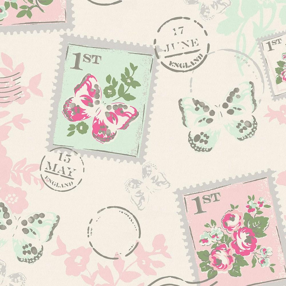 Product image for Blush and Ivory Vintage Stamp Toddler Sheet Bottom Fitted