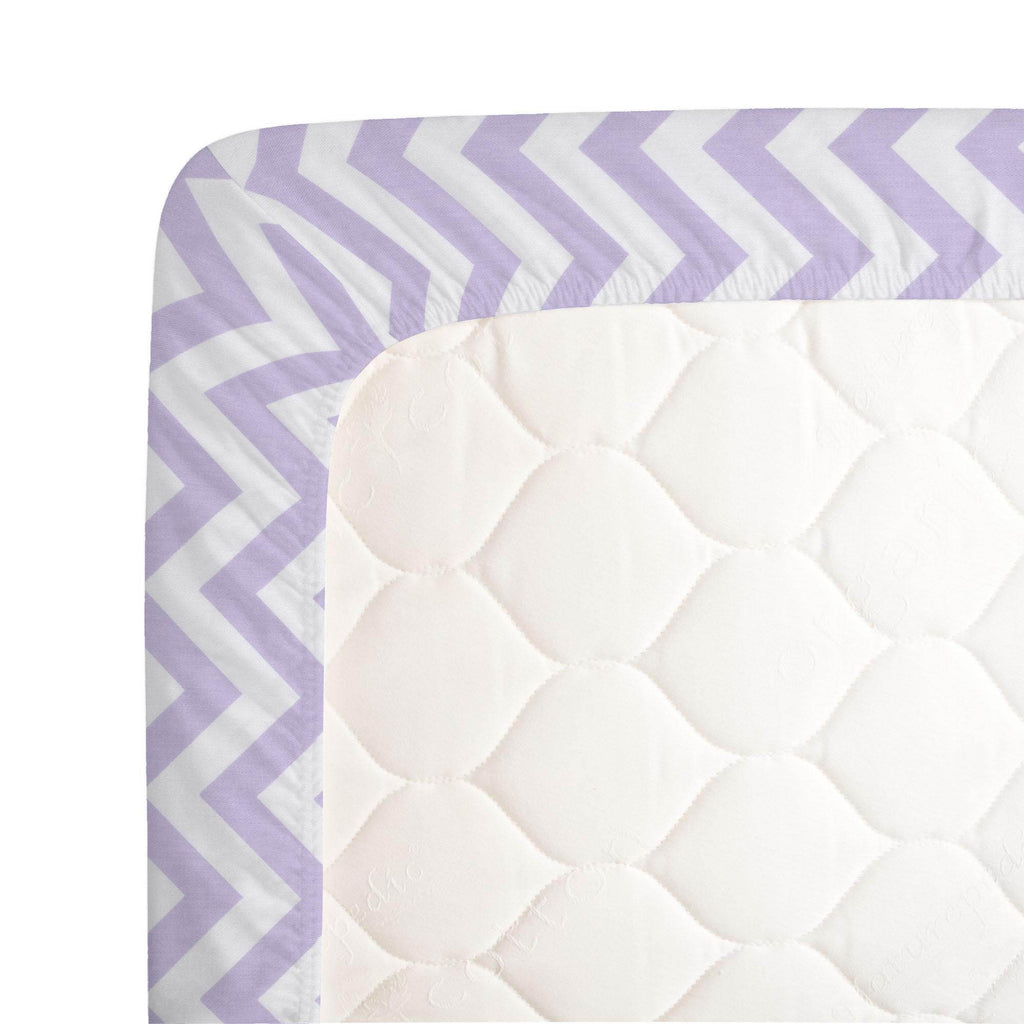 Product image for Lilac and White Zig Zag Crib Sheet
