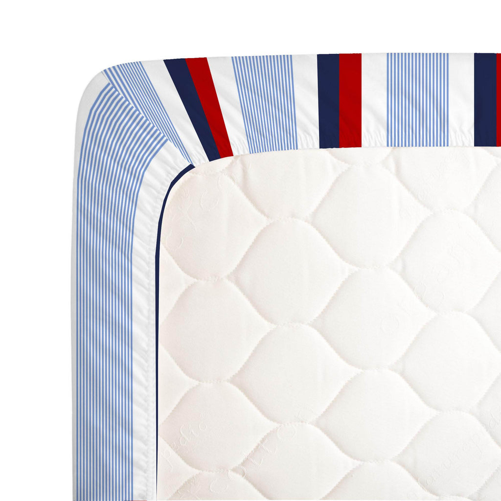 Product image for Red and Blue Stripe Crib Sheet