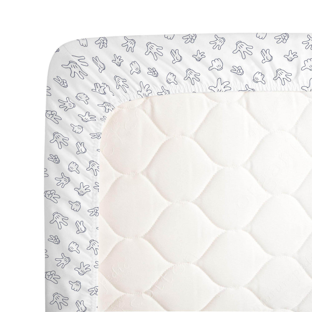 Product image for Disney© Navy Mickey Gloves Crib Sheet
