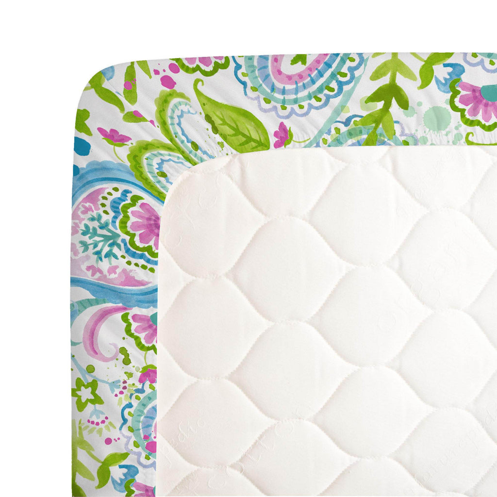 Product image for Orchid Painted Paisley Crib Sheet
