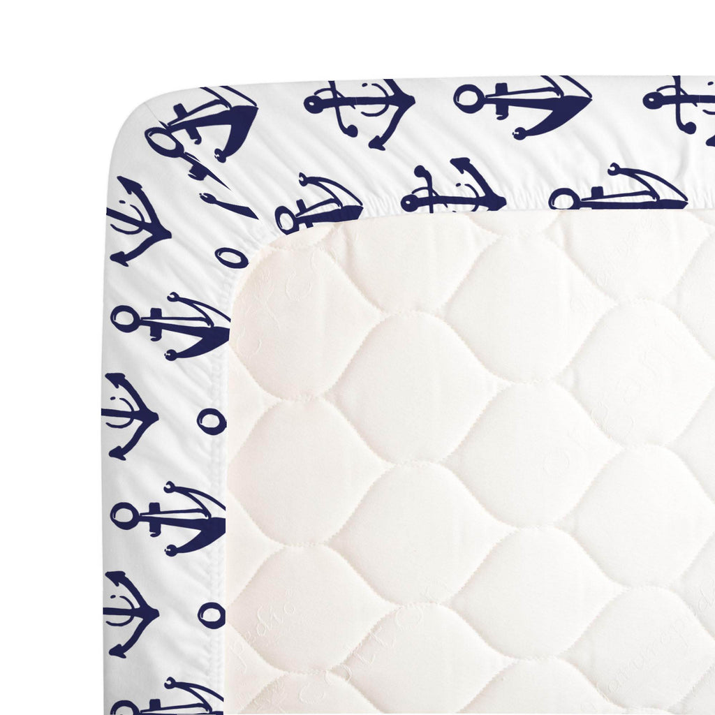 Product image for Windsor Navy Anchors Crib Sheet