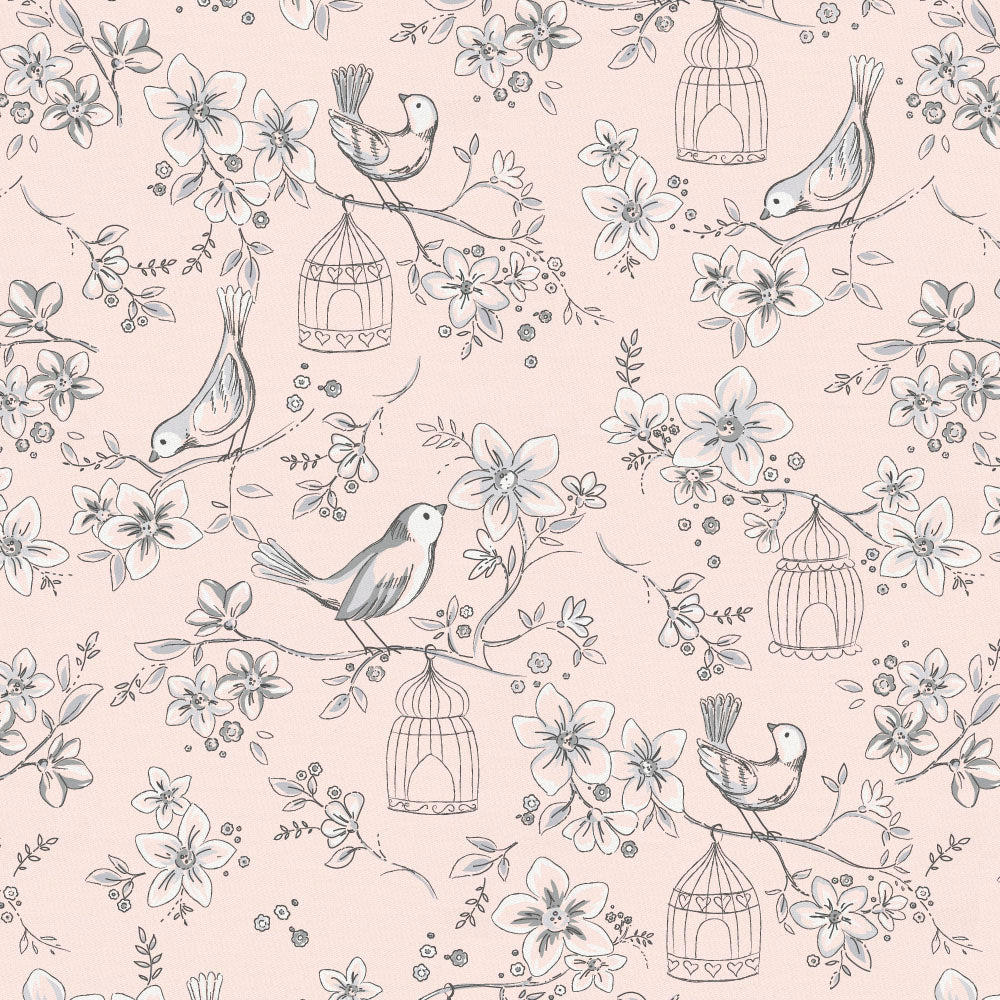 Product image for Pink and Gray Bird Cage Toddler Sheet Bottom Fitted