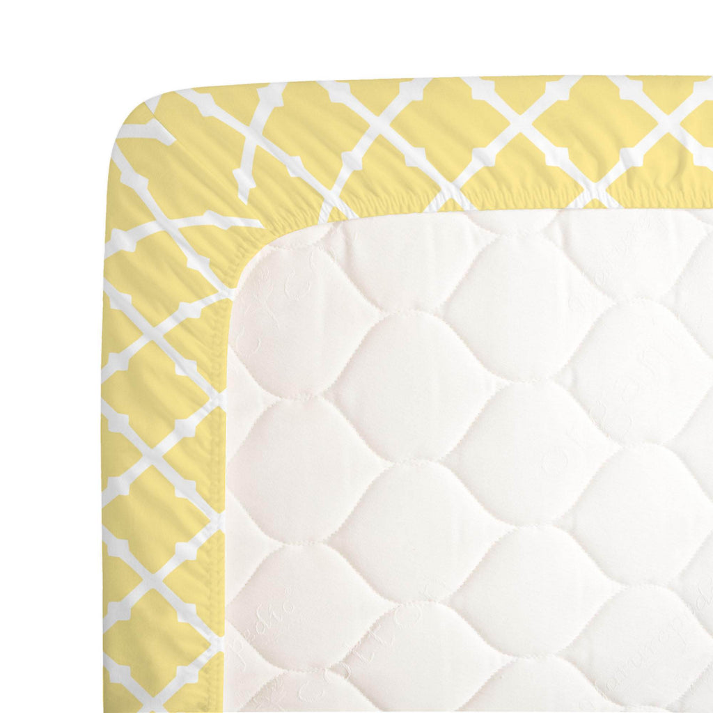 Product image for Banana Yellow Lattice Crib Sheet