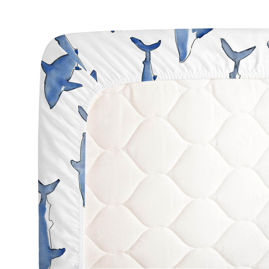 Product image for Blue Sharks Crib Sheet