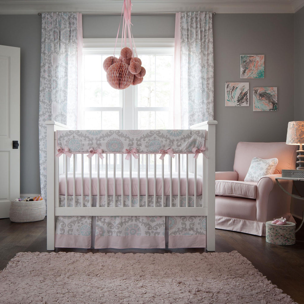 Product image for Pink and Gray Rosa Crib Rail Cover
