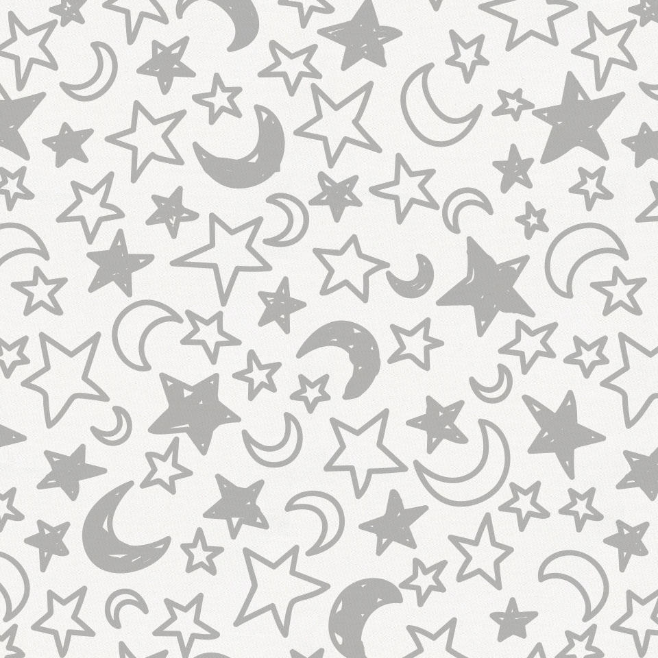Product image for Silver Gray Moon and Stars Toddler Sheet Bottom Fitted