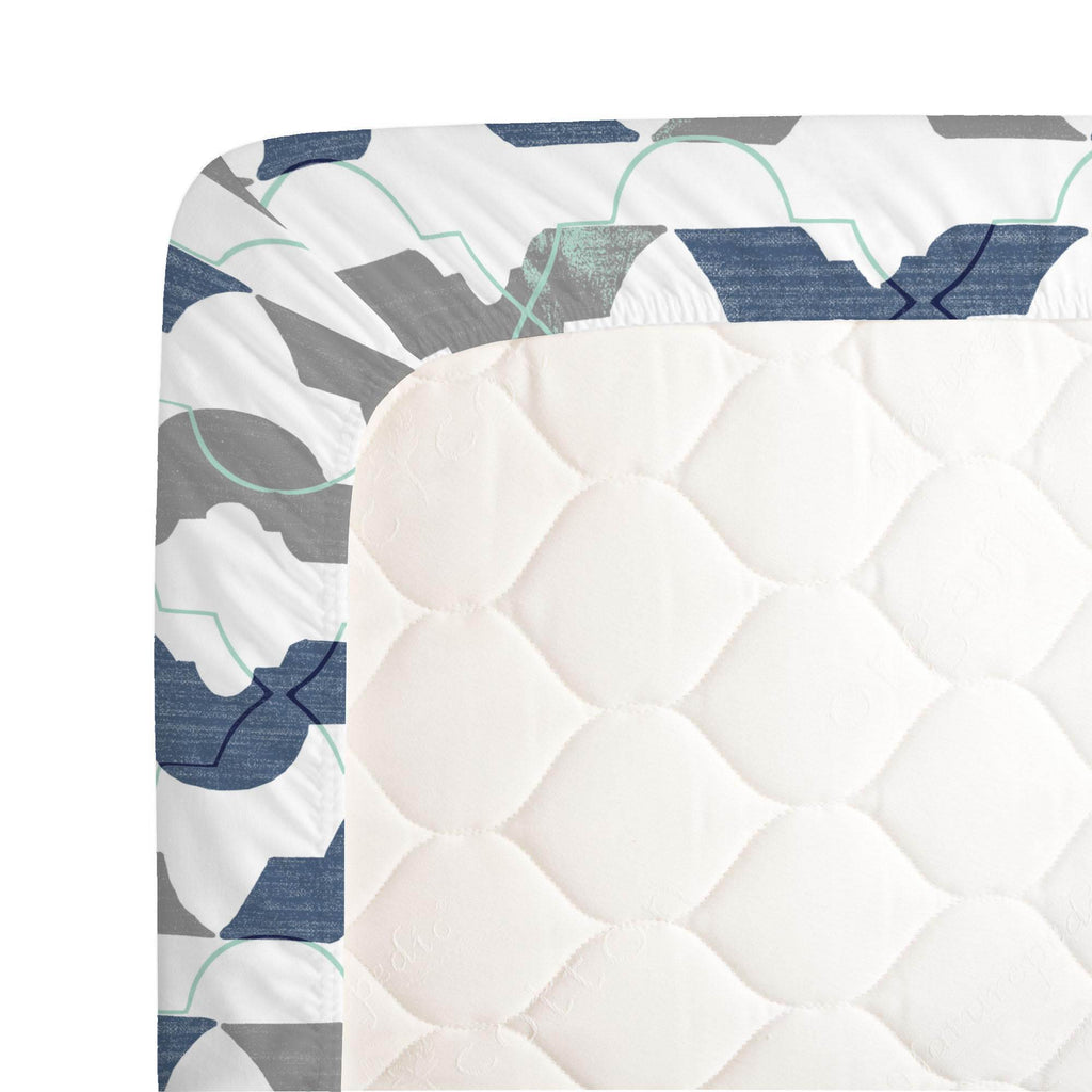 Product image for Denim and Gray Modern Quatrefoil Crib Sheet