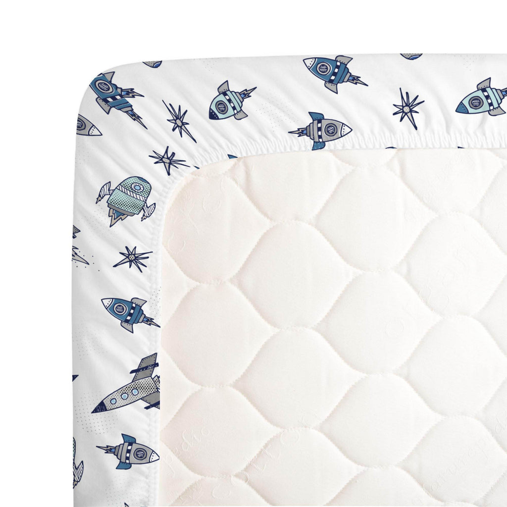 Product image for Navy Retro Rockets Crib Sheet