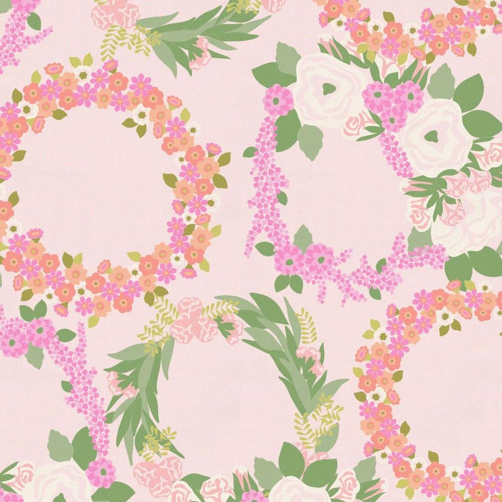 Product image for Pink and Coral Floral Wreath Toddler Sheet Top Flat