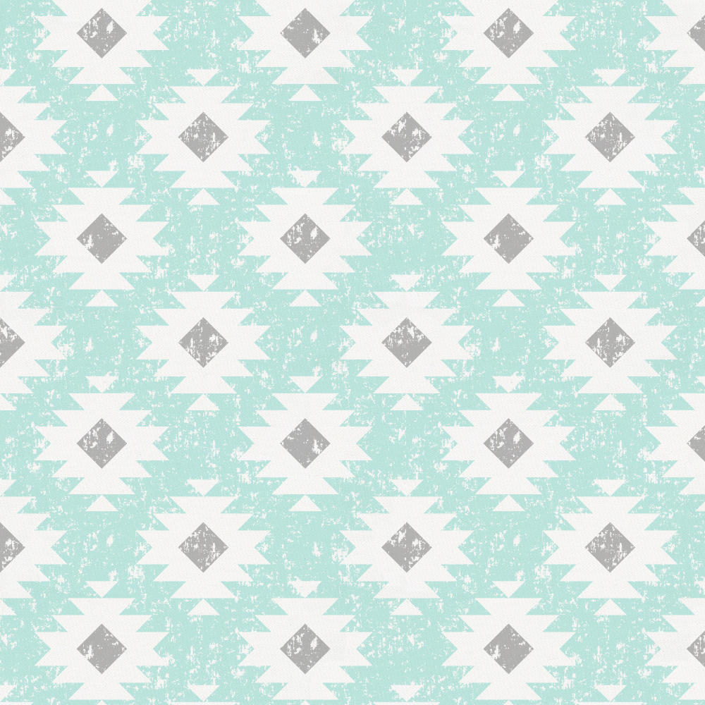 Product image for Icy Mint and Gray Aztec Crib Sheet