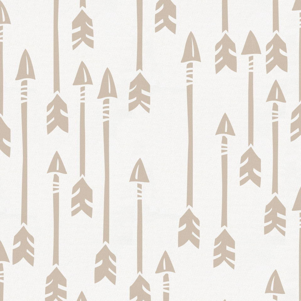 Product image for Taupe Flying Arrow Crib Sheet