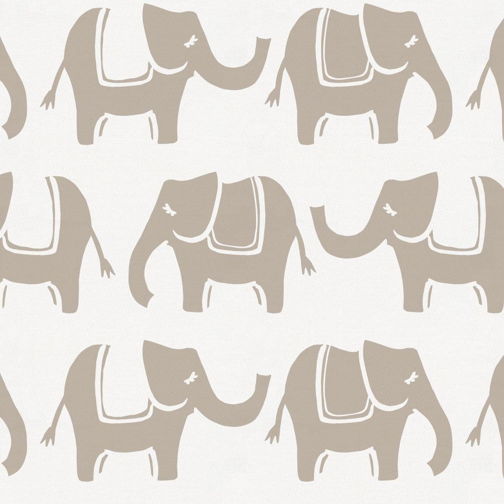 Product image for Taupe Marching Elephants Baby Blanket