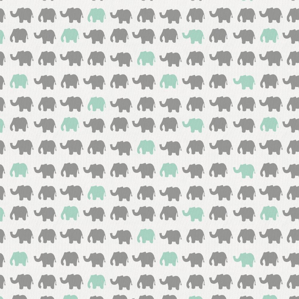 Product image for Gray and Mint Elephant Parade Crib Sheet