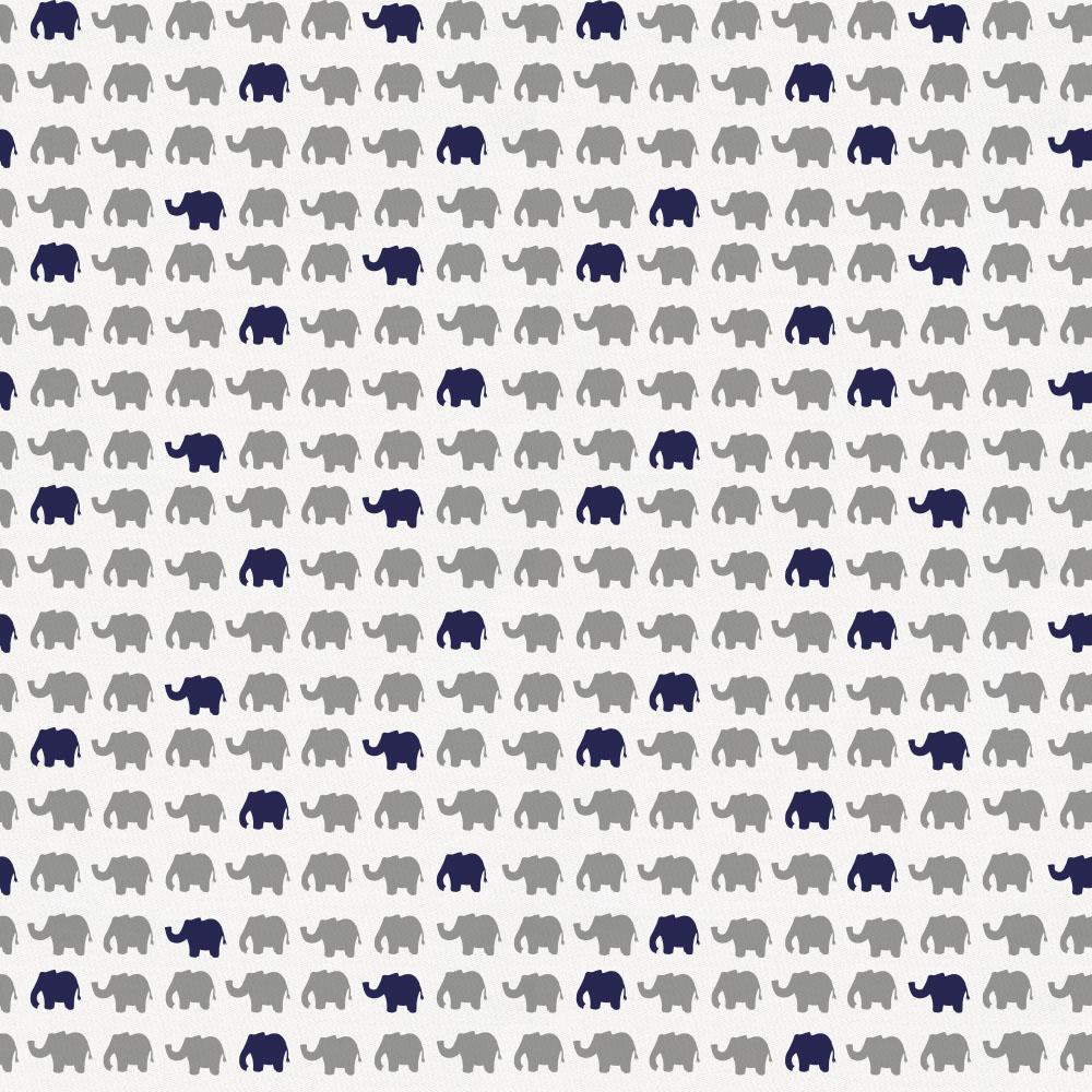 Product image for Cloud Gray and Navy Elephant Parade Crib Sheet