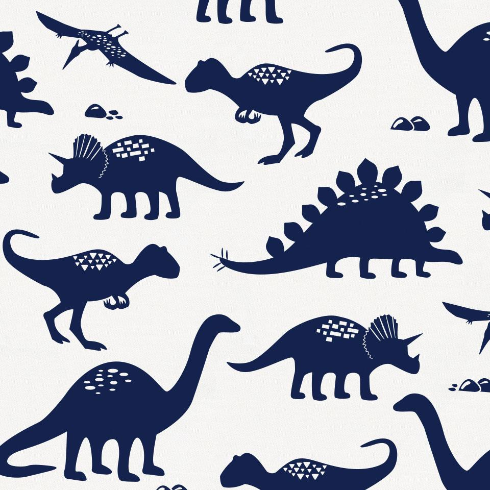 Product image for Navy Dinosaurs Baby Blanket