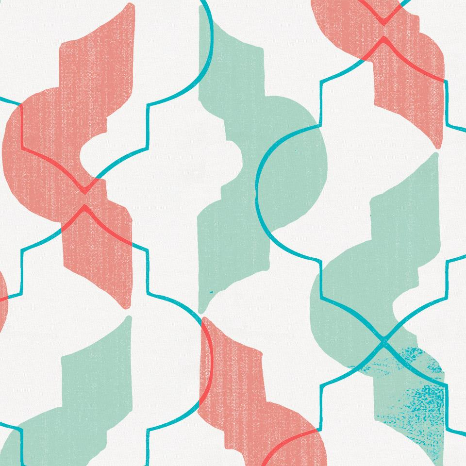 Product image for Coral and Teal Modern Quatrefoil Crib Sheet