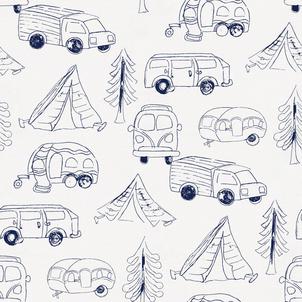 Product image for Navy Little Campers Crib Sheet